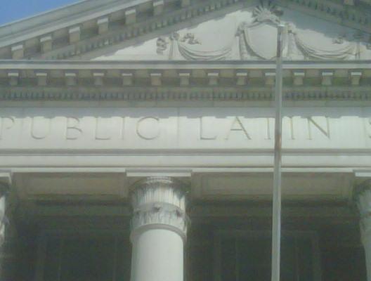 Front entrance illustration of Boston Latin School at Fenway